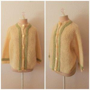VTG Lemon Mohair Fuzzy Cardigan Hand Knit Sweater